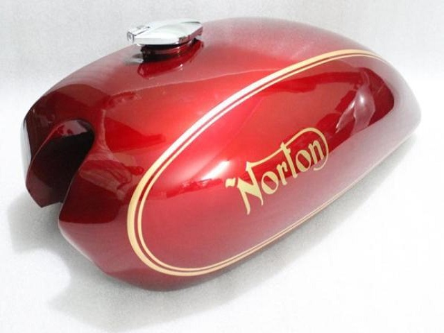 NORTON COMMANDO INTERSTATE 750 850 MKII STEEL GAS FUEL PETROL TANK RED PAINTED REPRODUCTION