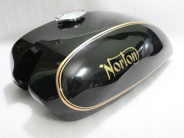 NORTON COMMANDO INTERSTATE 750 850 MKII STEEL GAS FUEL PETROL TANK BLACK PAINTED REPRODUCTION